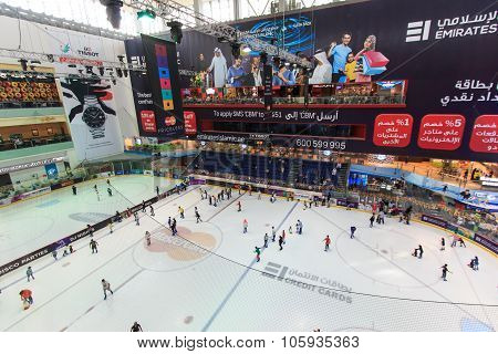 Dubai, Uae - October 07, 2014: The Ice Rink Of The Dubai Mall In Dubai, Uae. Dubai Mall Is The Large