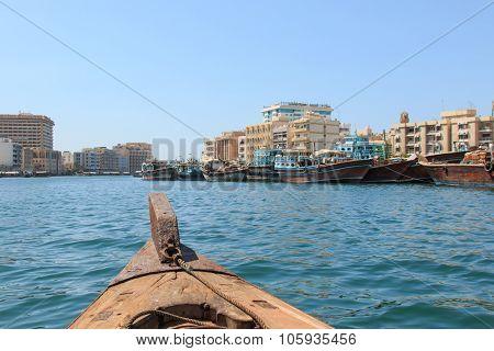 Dubai, United Arab Emirates - October 8,2015: Abras crossing the Dubai Creek in Dubai