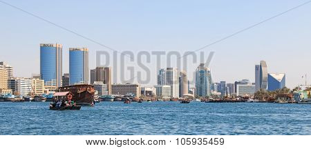 Dubai, Uae - October 08, 2014: People Are Commuting And Using Traditional Wooden Boat At Dubai Creek