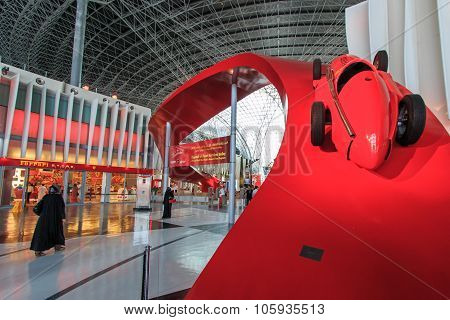 Abu Dhabi, Uae - October 10, 2014: Ferrari World At Yas Island In Abu Dhabi, Uae. Ferrari World Is T