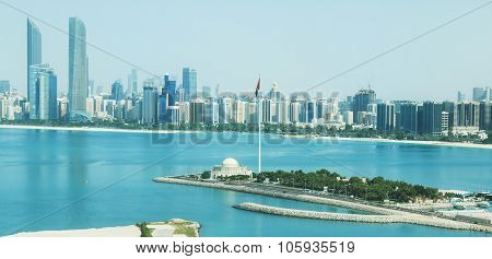 Abu Dhabi, United Arab Emirates - October 10,2015: Abu Dhabi City View from the Mall