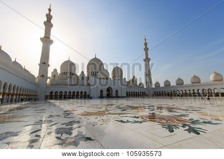 Abu Dhabi,United Arab Emirates - October 10,2014: Interiors of the Sheikh Zayed mosque in Abu-Dhabi,