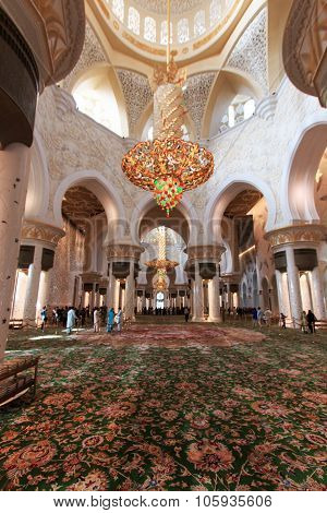 Abu Dhabi, United Arab Emirates - October 10,2014: Interior Of The Sheikh Zayed Grand Mosque In Abu