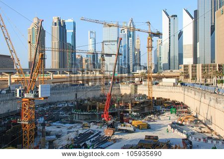 Dubai, United Arab Emirates - October 11 2014: Grandiose construction in Dubai the United Arab Emira