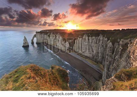 Sunrise Over Etretat, France