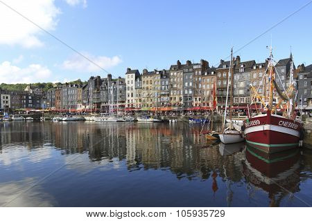 Honfleur, France- August 20 2013: View of the medieval town and port of Honfleur in France
