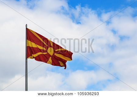 Macedonia Flag On Cloudy Sky