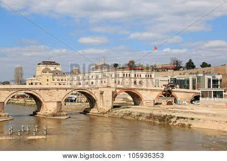 Skopje Macedonia - Marh 20 2014:Stone Bridge in the center of Skopje the capital of Macedonia