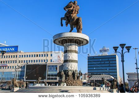 Skopje, Macedonia - March 20 2014: Monument of Alexander The Great in Skopje's main square with peop