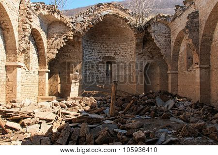 Interior Of The Submerged Church Of Mavrovo Lake, Macedonia
