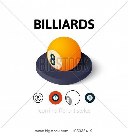 Billiards icon in different style