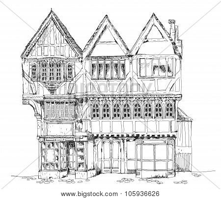 Medieval Tudor age long house  in Oxford, sketch collection. Medieval Tudor age long house