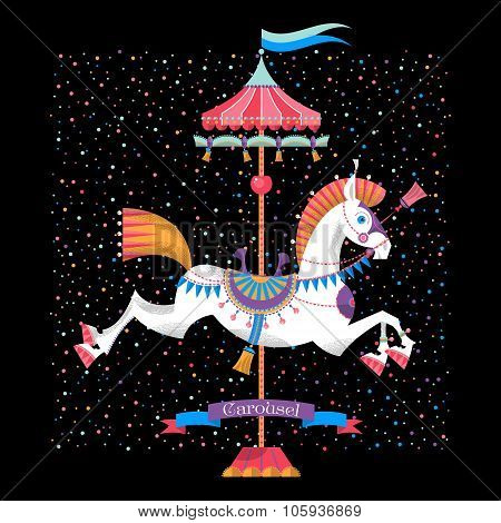 Greeting Card With Vintage Carousel Horse.