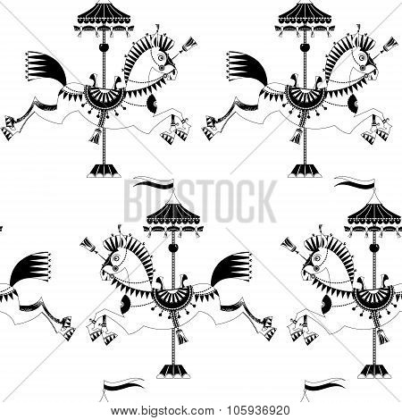 Vintage Carousel Horse. Black And White. Seamless Background Pattern.