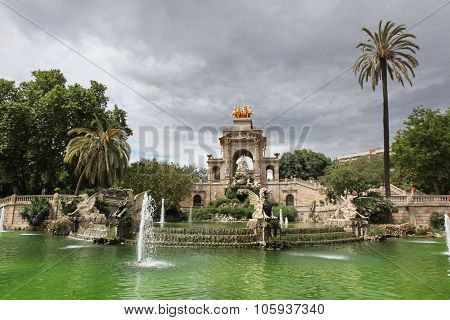 Fountain And Cascade In Park De La Ciutadella In Barcelona,