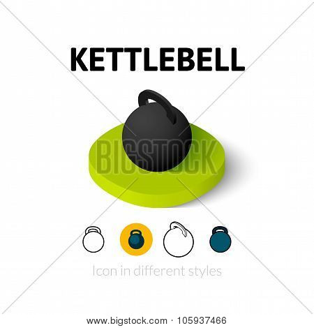 Kettlebell icon in different style