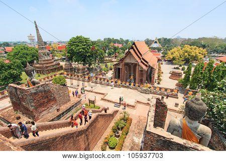 Ayutthaya, Thailand - April 16,2015: Wat Yai Chai Mongkol In Ayutthaya, Thailand