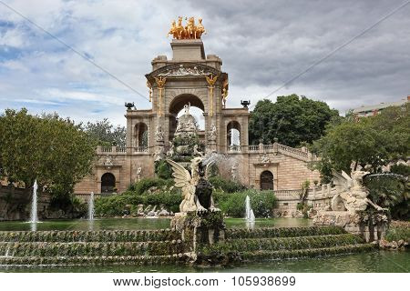 Fountain And Cascade In Park De La Ciutadella In Barcelona, Spain, Catalonia