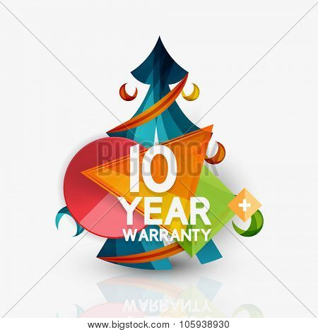 Christmas sale, 10 year warranty label. Holiday tag with reflection. Vector illustration