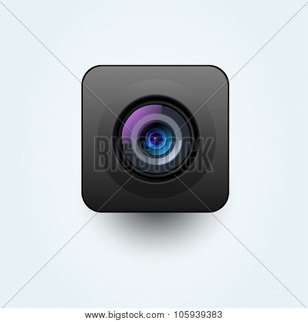 Vector photo camera lens black illustration