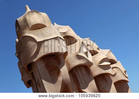 BARCELONA SPAIN - JUNE 9: Part Of Sculpure On The Roof Of