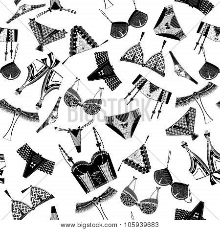 Woman Lingerie, Bra And Pants. Black And White. Seamless Background Pattern.