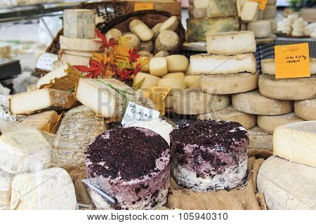 Moncalvo, Italy - October 18,2015: Closeup Of Italian Cheese With Relative Price Tags At The Moncalv