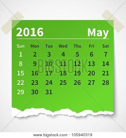 Calendar may 2016 colorful torn paper