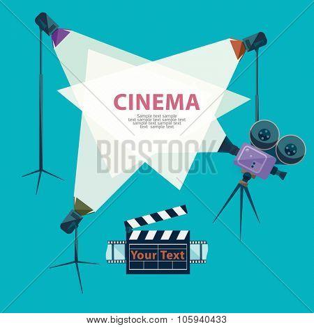 Cinema concept with spotlight and camera