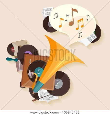 Music poster with gramophone. Flat design.