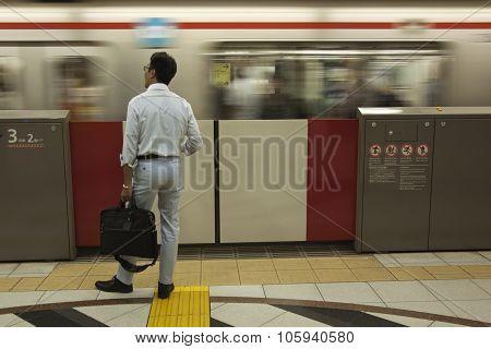 Man On Metro Subway Underground Station - Tokyo