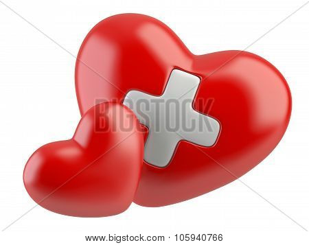3D Health Care Icon, White Cross In Red Hearts