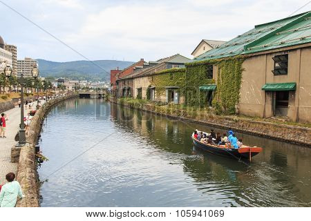 Otaru, Hokkaido - July 13,2015: Otaru, Historic Canal And Warehousedistrict In Hokkaido, Japan, With