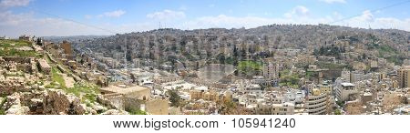 Amman, Jordan - March 22,2015: Panoramic View Of Amman From One Of The Hills Sorrounding The City