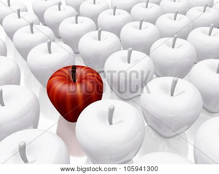 One Red Apple Amidst White Ceramic Apples