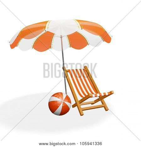 Orange White Beach Lounger Parasol And Ball