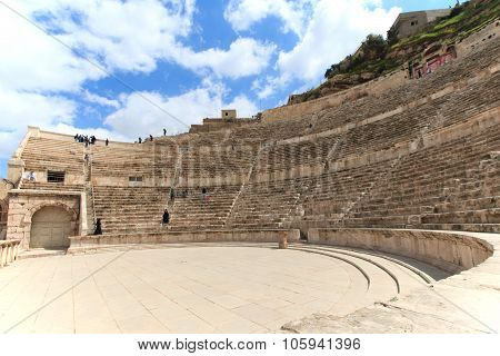 Amman, Jordan - March 22,2015: Tourists In The Roman Amphitheatre Of Amman, Jordan