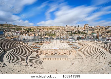 Amman, Jordan - March 22,2015: Tourists In The Roman Amphitheatre Of Amman, Jordan