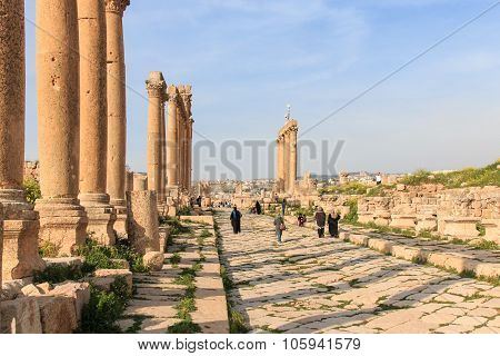 Amman, Jordan - March 23,2015: Ruins Of The Ancient Jerash, The Greco-roman City Of Gerasa In Modern