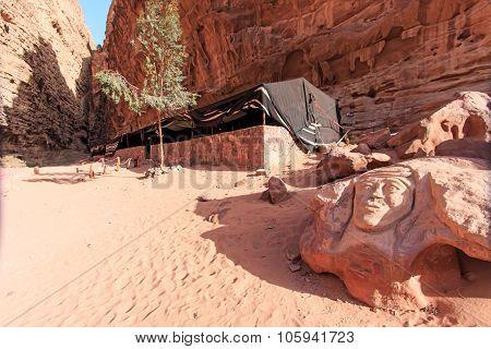 Carving Of Lawrence Of Arabia In The Wadi Rum Desert, Jordan