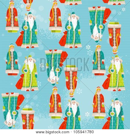 Ded Moroz (grandfather Frost) And Snegurochka (snow Maiden). Russian Christmas. Seamless Background