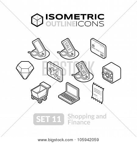 Isometric outline icons set 11