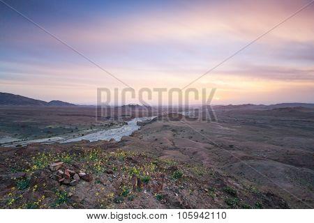 Sunset In The Feynan Natural Reserve In Jordan