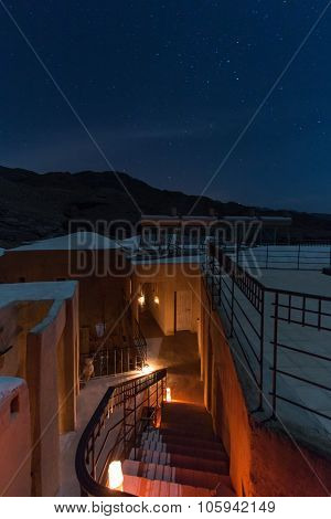 Feynan, Jordan - March 26,2015: Nightview From The Roof Of A House In The Feynan Natural Reserve In