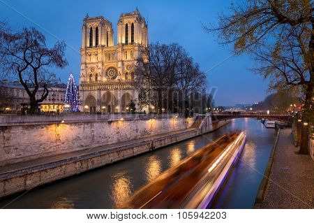 Notre Dame De Paris And Christmas Illumination In Evening, France