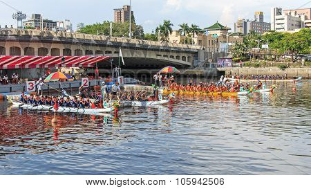 Boats racing in the Love River for the Dragon Boat Festival in Kaohsiung Taiwan.
