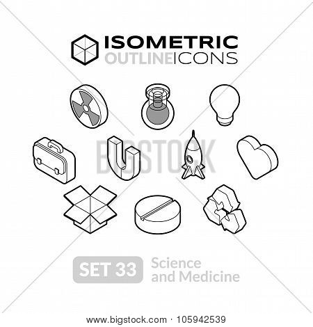 Isometric outline icons set 33