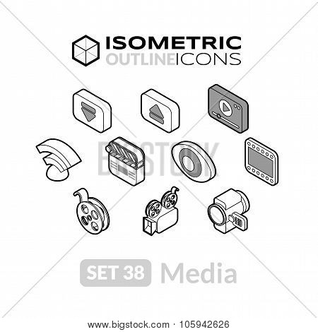 Isometric outline icons set 38