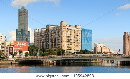 Kaohsiung, Taiwan - April 19,2015: Panoramic View Of Kaohsiung, The Second Lagest City Of Taiwan, Wi