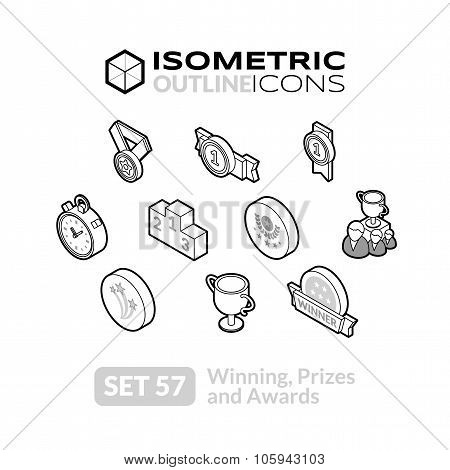 Isometric outline icons set 57